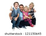 happy thumbs up family of four... | Shutterstock . vector #121150645