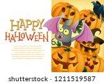 happy halloween card template.... | Shutterstock .eps vector #1211519587