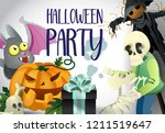 halloween party poster design.... | Shutterstock .eps vector #1211519647