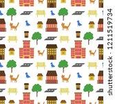 primitive houses  seamless... | Shutterstock .eps vector #1211519734