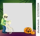 halloween card with blank paper ... | Shutterstock .eps vector #1211522104