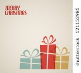 Retro Christmas card with christmas present - teal, brown and red - stock vector