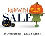 halloween sale with cartoon... | Shutterstock .eps vector #1211543554