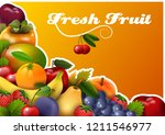 panel with fresh fruit group ... | Shutterstock . vector #1211546977