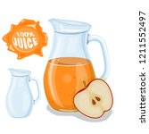 glass jug with natural juice.... | Shutterstock .eps vector #1211552497