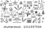christmas icon set. vector... | Shutterstock .eps vector #1211557534