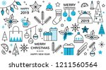 christmas icon set of christmas ... | Shutterstock .eps vector #1211560564