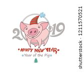 cute card with a funny pig in...   Shutterstock .eps vector #1211570521