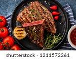 steak beef. beef steak medium... | Shutterstock . vector #1211572261