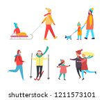 skating and skiing people... | Shutterstock .eps vector #1211573101