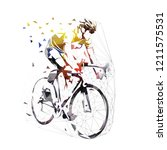 road cycling  cyclist in yellow ... | Shutterstock .eps vector #1211575531