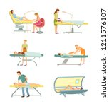 spa salon pedicure and tanning... | Shutterstock .eps vector #1211576107