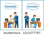 good and bad boss  comparing... | Shutterstock .eps vector #1211577787