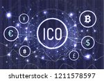 ico bitcoin and connected... | Shutterstock .eps vector #1211578597
