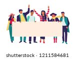group of young men and women... | Shutterstock .eps vector #1211584681