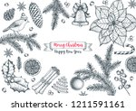 christmas greeting card. hand... | Shutterstock .eps vector #1211591161