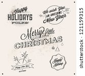 vector vintage styled   holiday ... | Shutterstock .eps vector #121159315