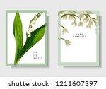 floral wedding invitation card... | Shutterstock .eps vector #1211607397