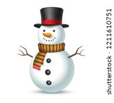 snowman with hat and scarf... | Shutterstock .eps vector #1211610751
