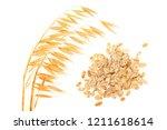 oat spike with oat flakes... | Shutterstock . vector #1211618614