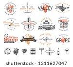 wine logos  labels set. winery  ...   Shutterstock . vector #1211627047