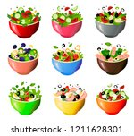 green fresh salad of their... | Shutterstock .eps vector #1211628301