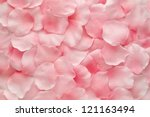 Stock photo background texture of beautiful delicate pink rose petals in a random pile 121163494