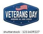 veterans day label  emblem or... | Shutterstock .eps vector #1211639227