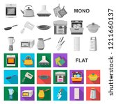 kitchen equipment flat icons in ... | Shutterstock .eps vector #1211660137