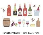 hand painted wine goods   Shutterstock .eps vector #1211670721