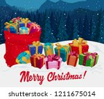 gift boxes on the snow with red ... | Shutterstock .eps vector #1211675014