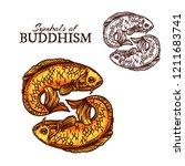 buddhism religion symbols with... | Shutterstock .eps vector #1211683741