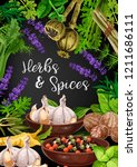 herbs and spices in frame of... | Shutterstock .eps vector #1211686111