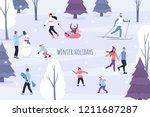 winter season vector... | Shutterstock .eps vector #1211687287