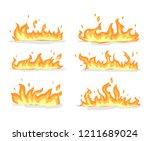 flame set vector | Shutterstock .eps vector #1211689024