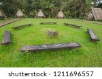 old circle seats in the middle... | Shutterstock . vector #1211696557