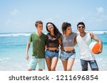 pose young people standing... | Shutterstock . vector #1211696854
