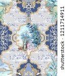 baroque damask pattern ... | Shutterstock . vector #1211714911
