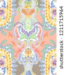 baroque damask pattern ... | Shutterstock . vector #1211715964