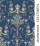 baroque damask pattern ... | Shutterstock . vector #1211718571