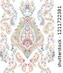 baroque damask pattern ... | Shutterstock . vector #1211722381