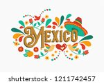 mexico country typography... | Shutterstock .eps vector #1211742457