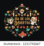 day of the dead spanish... | Shutterstock .eps vector #1211742667