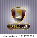 gold emblem or badge with... | Shutterstock .eps vector #1211752351