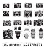 camera black icons set. vector... | Shutterstock .eps vector #1211756971