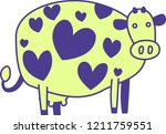 cute colorful cow silhouette...   Shutterstock .eps vector #1211759551