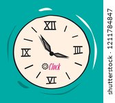 retro analog flat clock vector... | Shutterstock .eps vector #1211784847