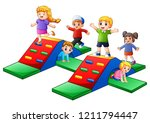 happy kids playing in the... | Shutterstock . vector #1211794447