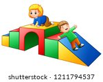 happy kids playing in the... | Shutterstock . vector #1211794537