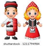 cartoon scottish couple wearing ... | Shutterstock . vector #1211794984